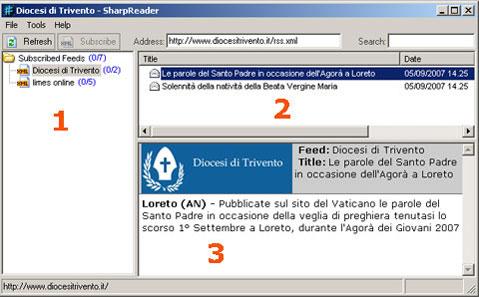 Prima schermata RSS