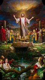 Un'immagine della nuova pala d'altare collocata nella cattedrale di Trivento realizzata da claudio sacchi